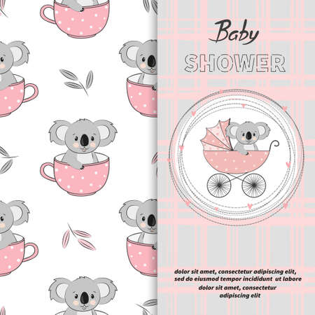 Baby shower girl card design. Cartoon koala bear in stroller. 矢量图像