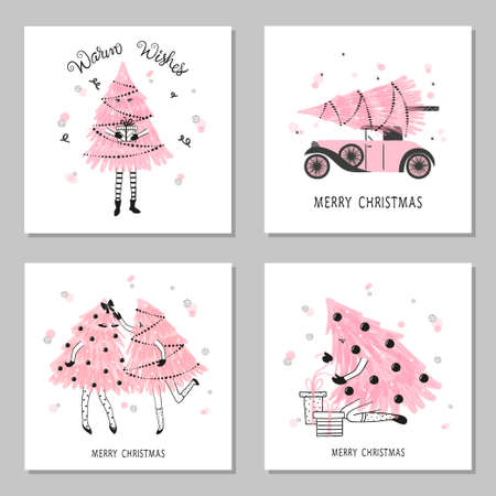 Set of cute Christmas trees as little girls. Merry Christmas cards design.