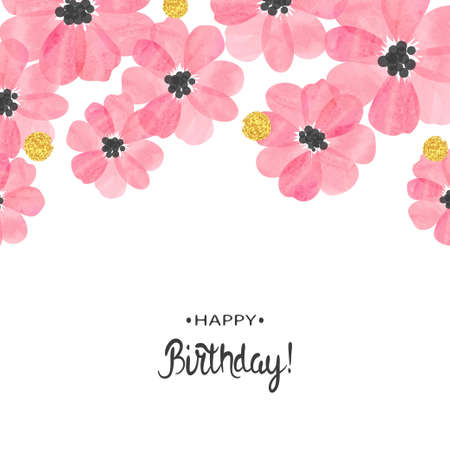 Abstract vector celebration background with pink watercolor flowers and place for text. Birthday card design