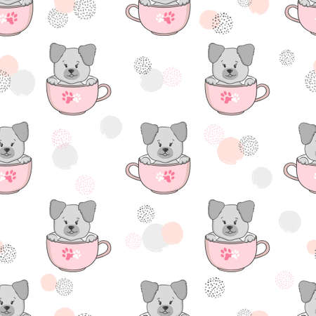 Seamless pattern with cute puppy in cup. Vector dog illustration for kids