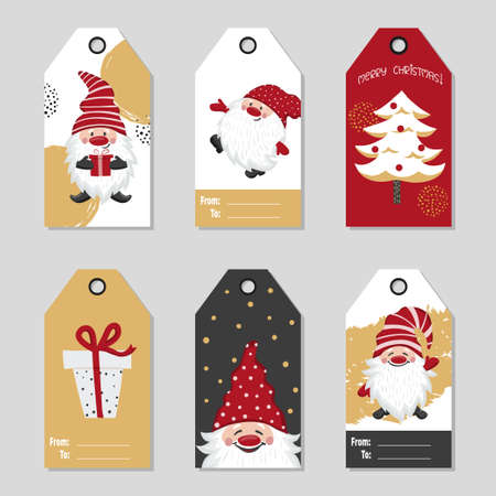 Christmas gift tags with cute gnomes. Vector set of cards 矢量图像