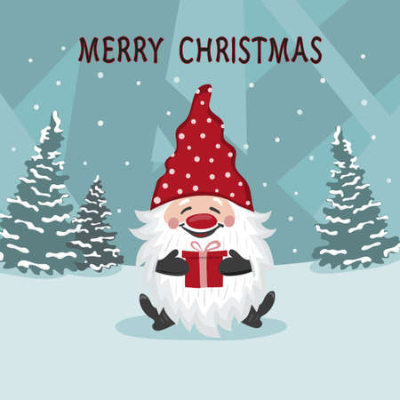 Greeting Christmas card with little cute gnome. Vector holiday illustration
