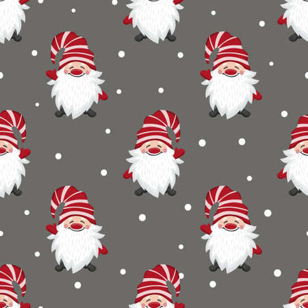 Christmas gnomes pattern. Seamless holiday background with cute dwarf characters. 矢量图像