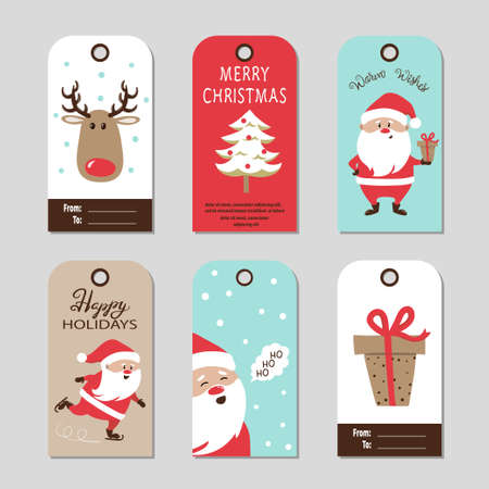 Christmas gift tags with cute Santa Claus. Vector set of cards