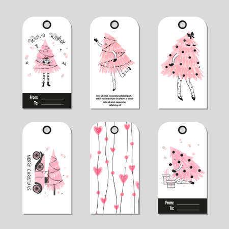 Christmas gift tags. Vector set of Merry Christmas and Happy New Year cards