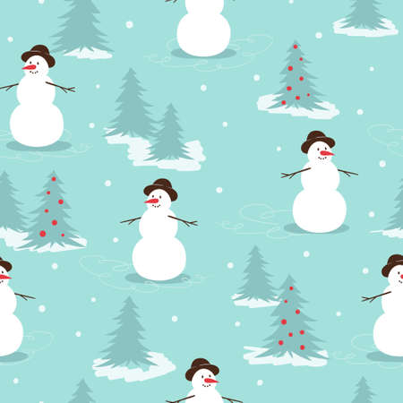 Merry Christmas seamless pattern with cute snowman and fir trees. New Year winter background
