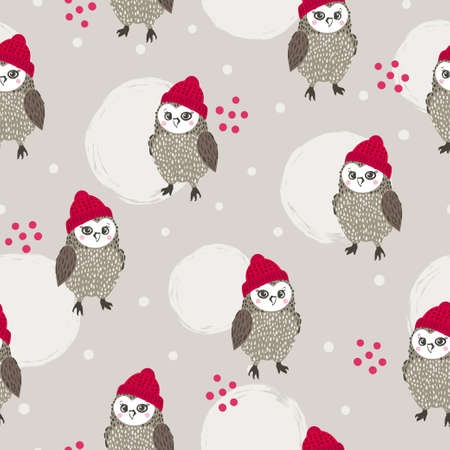 Seamless Christmas pattern with cute owls. Winter vector background.