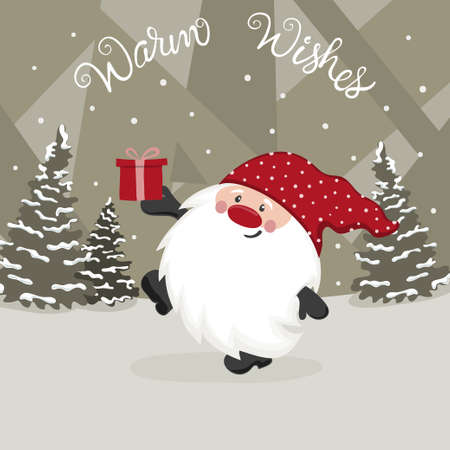Greeting Christmas card with cute gnome. Vector holiday illustration