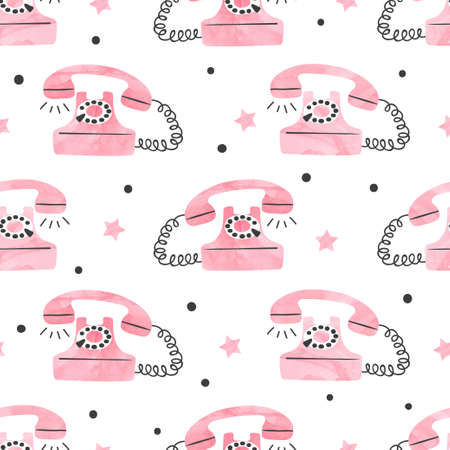 Seamless retro telephone pattern. Vector vintage telephone illustration