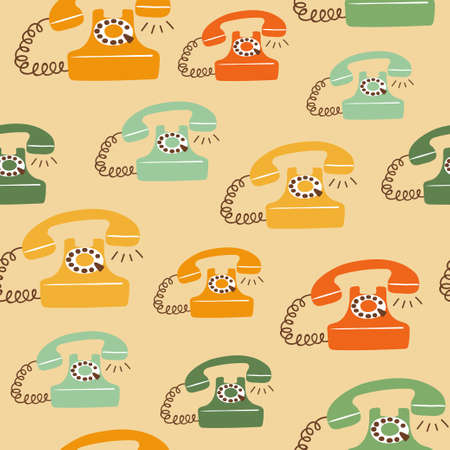 Seamless colorful retro telephone pattern. Vector telephone illustration 矢量图像