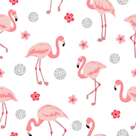 Flamingo seamless pattern. Vector background design with flamingos and flowers for wallpaper, fabric, textile. 矢量图像