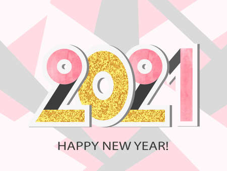 Happy New Year 2021. Vector illustration with numbers. Greeting card design