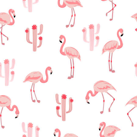 Seamless pattern with pink flamingo bird and cactus.