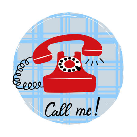 Call me vector illustration with red retro phone.