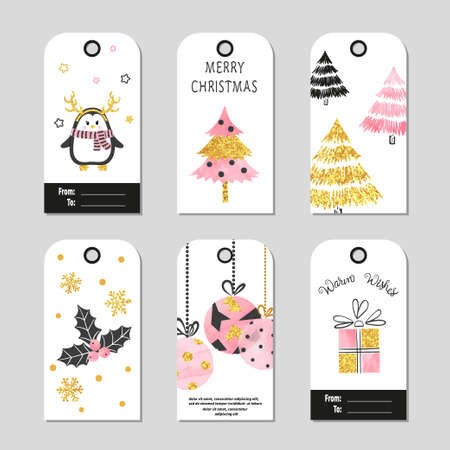 Christmas gift tags with cute Christmas trees and balls. Vector set of cards 矢量图像