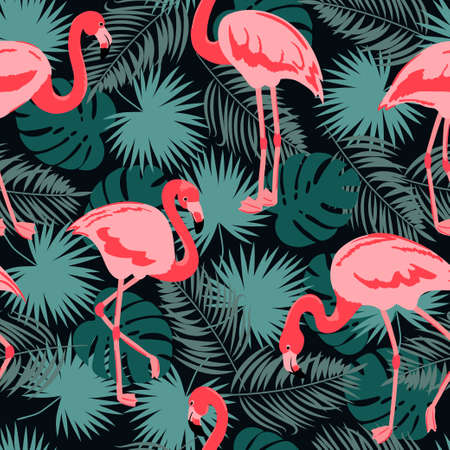 Seamless tropical pattern with beautiful flamingo.