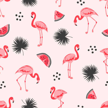 Seamless tropical trendy pattern with flamingos, watermelon and palm leaves. Vector summer background.
