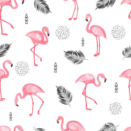 Seamless flamingo bird pattern. Vector background with watercolor flamingos and tropical leaves. 矢量图像