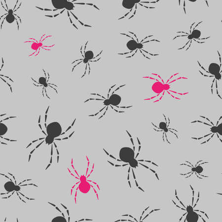Seamless spiders pattern. Vector background.