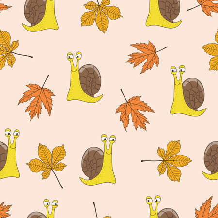 Seamless autumn pattern with cartoon snails and maple leaves. Childish vector background
