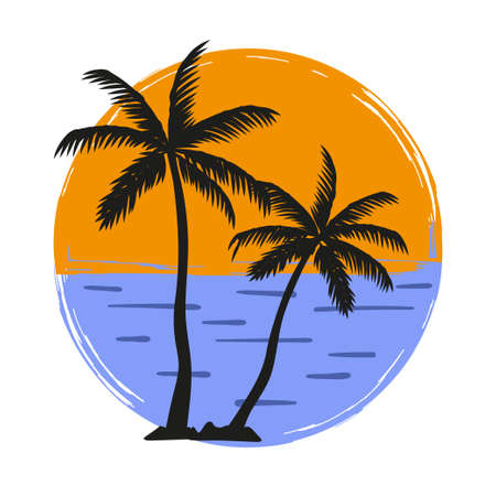 Palm trees silhouette vector illustration. Summer vacation on tropical beach.