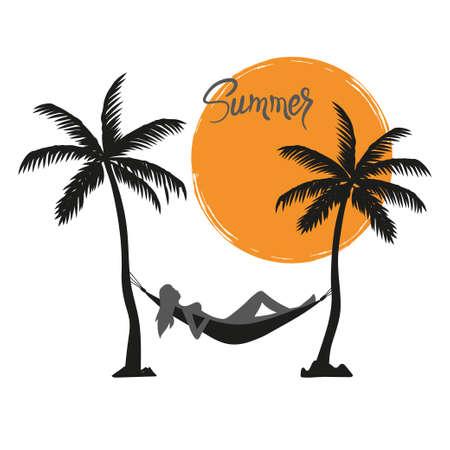 Summer vacation on tropical beach. Girl lying in hammock under palm trees vector illustration.