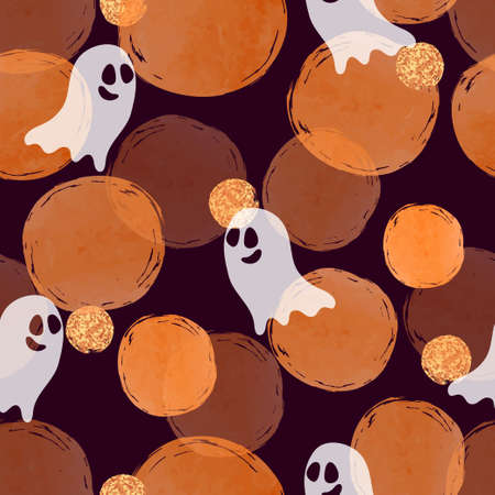 Halloween ghost pattern. Seamless vector background with cute cartoon ghosts and orange watercolor circles.