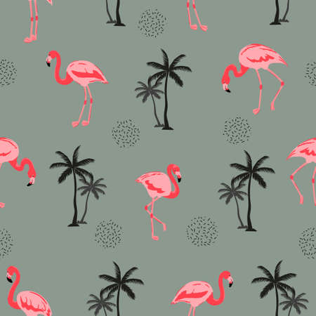 Seamless tropical pattern with flamingo birds and palm trees. 矢量图像