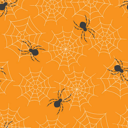 Seamless pattern with spiders on the web. Halloween .