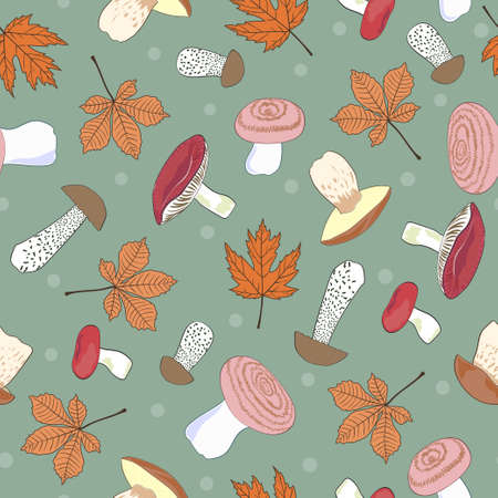 Seamless autumn pattern with mushrooms and leaves. 矢量图像