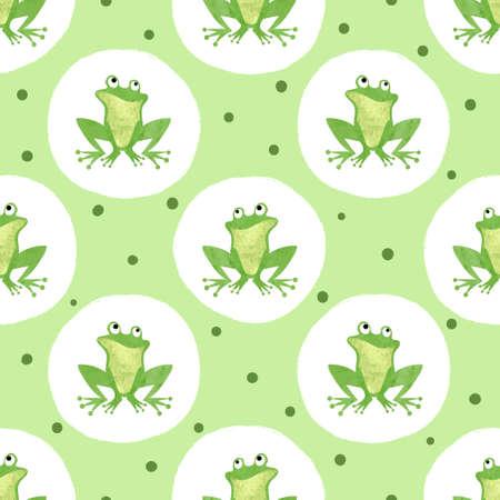 Cute  frog pattern. Seamless polka dot background for kids. 矢量图像