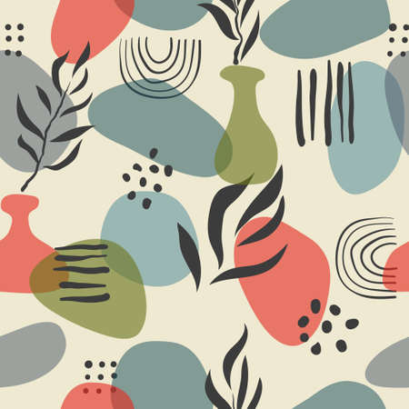 Abstract seamless minimal pattern. Vector floral background with geometric shapes.