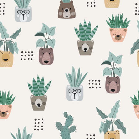Seamless cartoon plants in pots as bear face pattern.
