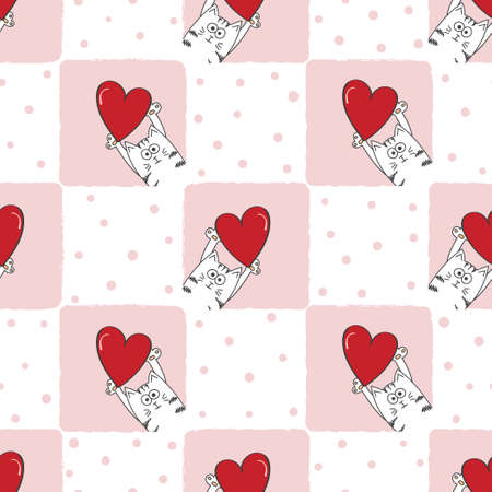Valentines day seamless pattern with cute cats and red hearts