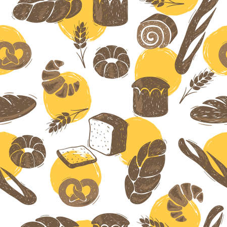 Seamless bakery pattern with bread. Doodle vector illustration.