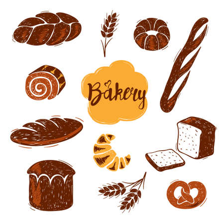 Hand drawn doodle bakery set. Different kinds of bread vector illustration.
