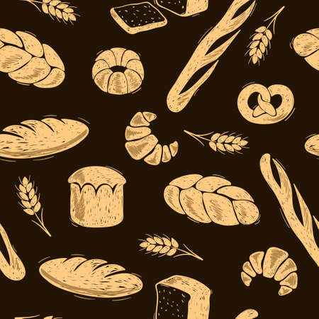 Seamless bakery pattern. Doodle bread vector illustration. Vettoriali