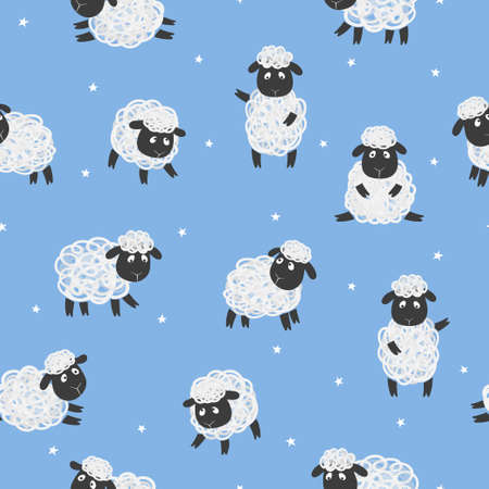 Seamless pattern with cute white sheep on blue. Vector kids background with little lambs.
