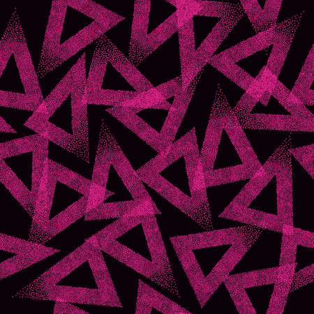 Seamless triangles pattern. Abstract trendy texture. Geometric dotted grunge background.