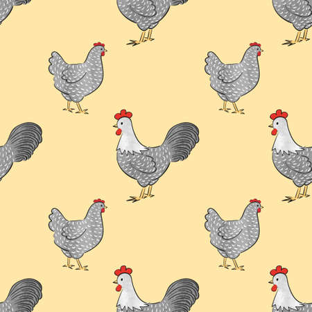 Seamless chicken pattern with farm birds - roosters and hens. Vector poultry illustration