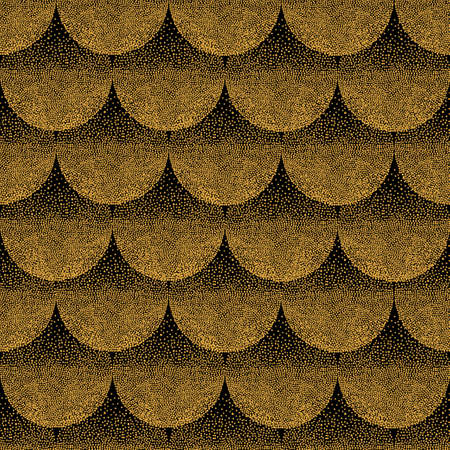 Seamless abstract wavy pattern with geometrical fish scale. Golden circles on dark black background. Wallpaper, textile, fabric design