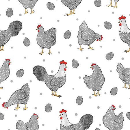 Seamless Easter chicken pattern with hens, roosters and eggs. Chicks vector illustration.