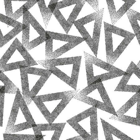 Seamless triangles pattern. Abstract trendy texture. Geometric black and white background. 矢量图像