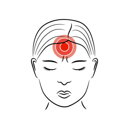 Headache vector illustration. Woman suffers from migraine pain.