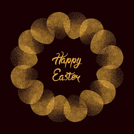 Happy Easter card design. Round frame with Easter eggs.