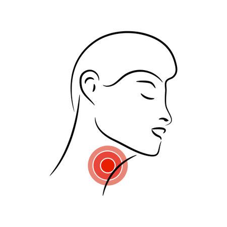 Sore Throat vector illustration. Feeling pain in throat.