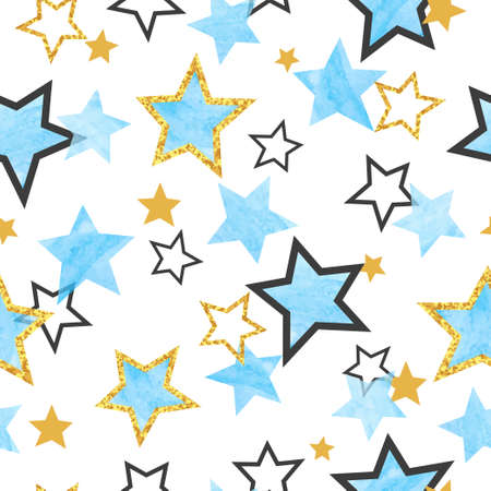 Seamless Stars pattern. Vector background with watercolor blue and glittering golden stars. 矢量图像