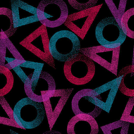 Seamless triangles and circles abstract pattern. Trendy texture. Geometric dotted grunge background. 矢量图像