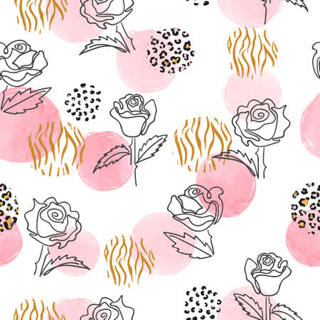 Seamless floral pattern with one line art  Rose flowers and abstract circles. Trendy fashion print.