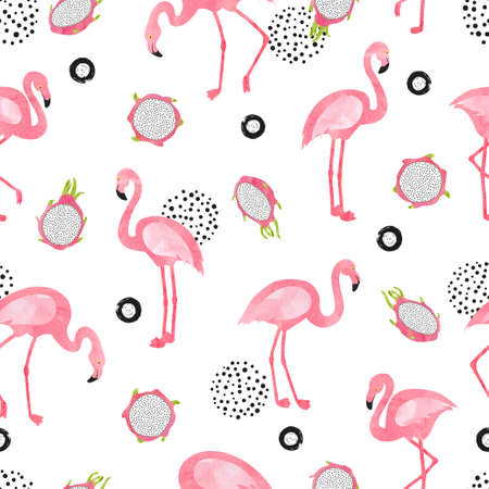 Flamingo bird pattern. Vector seamless watercolor tropical background with flamingos and dragon fruit. 矢量图像